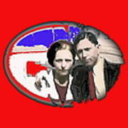 Bonnie And Clyde Close-up Detail Of Larger Image C. 1933-2013 Art Print