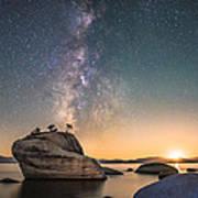 Bonsai Rock And Milky Way Art Print