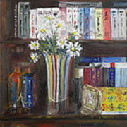 Bookworm Bookshelf Still Life Art Print