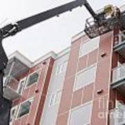 Boom Lift Worker Work Apartment Highrise Exterior Art Print