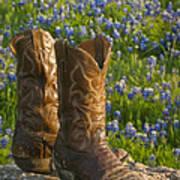 Boots And Bluebonnets Art Print