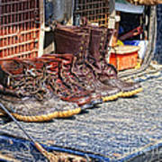 Boots Lined Up After The Hunt Art Print