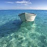 Bora Bora White Boat Art Print