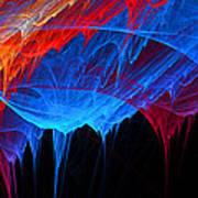 Borealis - Blue And Red Abstract Art Print