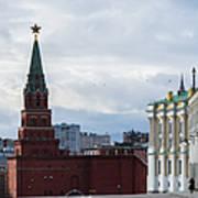 Borovitskaya Tower Of Moscow Kremlin - Square Art Print