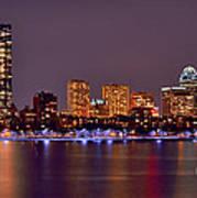 Boston Back Bay Skyline At Night Color Panorama Art Print