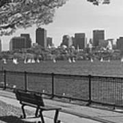 Boston Charles River Black And White  Art Print