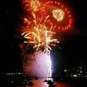 Boston Fireworks  Rings And Pinwheels Art Print