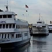 Boston Harbor Cruise Three In A Row Art Print