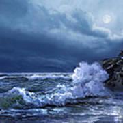 Boston Harbor Lighthouse Moonlight Scene Art Print