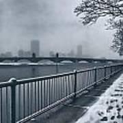 Boston Longfellow Bridge-snow Cityscape Art Print