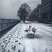 Boston Longfellow Bridge-snow Cityscape V2 Art Print