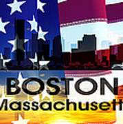 Boston Ma Patriotic Large Cityscape Art Print