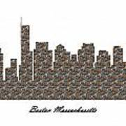 Boston Massachusetts 3d Stone Wall Skyline Art Print