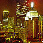 Boston Massachusetts Night Scene Digital Art Art Print