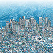 Boston Panorama Abstract 2 Art Print