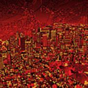 Boston Panorama Red Art Print