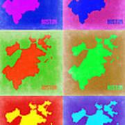Boston Pop Art Map 3 Art Print by Naxart Studio
