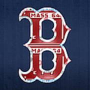 Boston Red Sox Logo Letter B Baseball Team Vintage License Plate Art Art Print by Design Turnpike