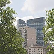 Boston Skyline Among The Trees Art Print