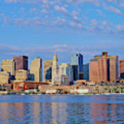 Boston Skyline And Harbor, Massachusetts Art Print