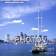Boston Skyline And Sailboat - Massachusetts - Limited Edition Art Print