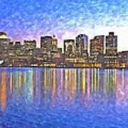 Boston Skyline By Night Art Print