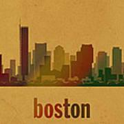 Boston Skyline Watercolor On Parchment Art Print