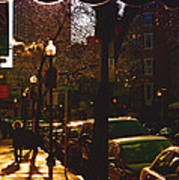 Brisk Walk On Hanover Street - Boston Art Print