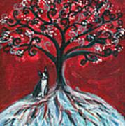 Boston Terrier Tree Love Art Print