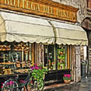 Bottega Del Pane Italian Bakery And Bicycle Art Print