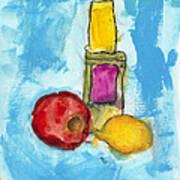 Bottle Apple And Lemon Art Print