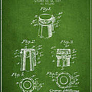 Bottle Cap Fastener Patent Drawing From 1907 - Green Art Print