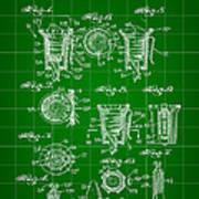 Bottle Cap Patent 1892 - Green Art Print