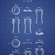 Bottle Cap Patent 1899- Blueprint Art Print