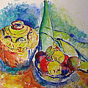 Bottle With Fruits Art Print