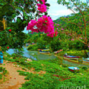 Bouganvilla Watches Over Village Fishing Boats Art Print