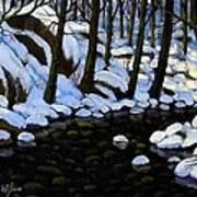 Boulder Brook In Winter Art Print