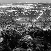 Boulder Colorado City Lights Panorama  Black And White Art Print