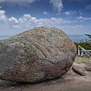 Boulder On Top Of Cadilac Mountain In Acadia National Park Art Print