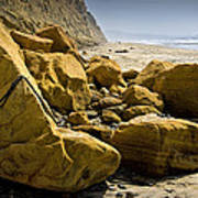 Boulders On The Beach At Torrey Pines State Beach Art Print