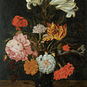Bouquet In A Roemer Print by Jan Baptist Van Fornenburgh