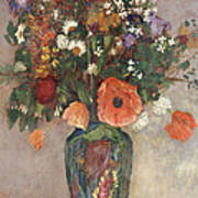 Bouquet Of Flowers In A Vase Art Print by Odilon Redon