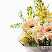 Bouquet Of Flowers On White Background Art Print