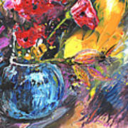 Bouquet With Black Tulip Art Print