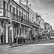 Bourbon Street Afternoon - Paint Bw Art Print