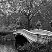 Bow Bridge Nyc In Black And White Art Print