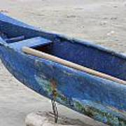 Bow Of A Blue Wood Fishing Boat Art Print