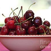 Bowl Of Cherries Closeup Art Print by Carol Groenen