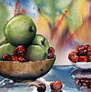 Apples In A Wooden Bowl With Cherries On The Side Art Print